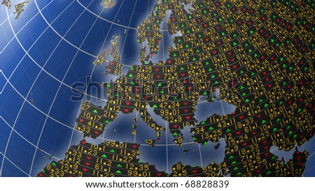 World economies with stock market tickers sliding on world map centered on Europe - stock photo