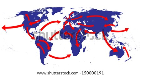 World Expansion Market Trade Routes Business Map - stock photo