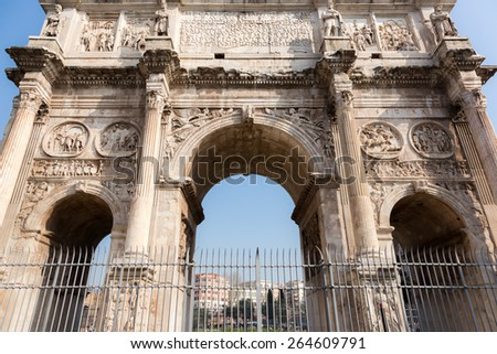 World famous Arch of Constantine near Colosseum, Rome, Italy - stock photo