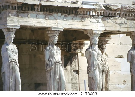 world famous caryatides at Athens acropolis - stock photo