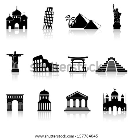 World famous landmarks icons - stock photo