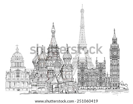 World famous monuments. Paris, London, Moscow. Big Ben, Eiffel tower, Red square  - stock photo