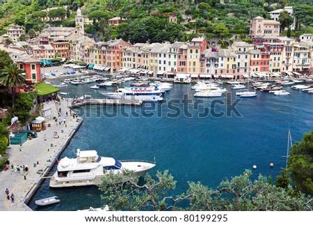 World famous Portofino village near Genova, Italy - stock photo