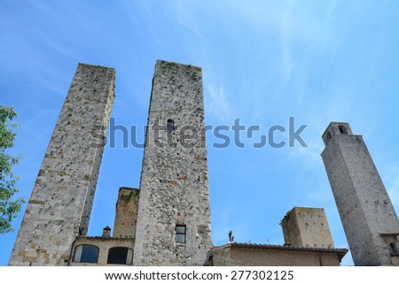 world famous San Gimignano towers on a clear day - stock photo