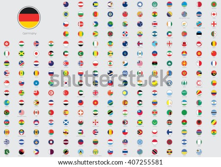 World Flag Illustrations in the shape of a Circle - stock photo