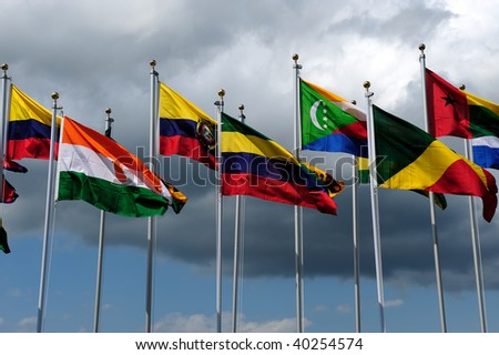 World Flags and dramatic sky - stock photo