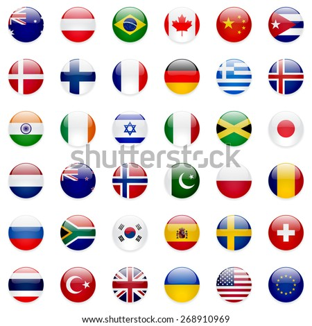 World flags collection. 36 high quality clean round icons. Correct color scheme. - stock photo