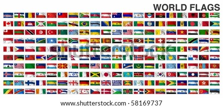 WORLD FLAGS Gallery of sovereign state flags - stock photo