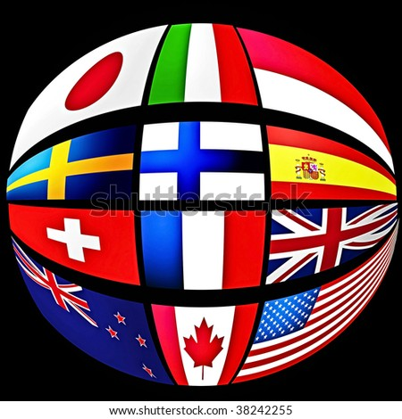 world flags in a round ball