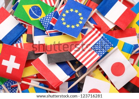 World flags,little flags of different countries - stock photo