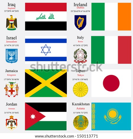 world flags of Iraq, Ireland, Israel, Italy, Jamaica, Japan, Jordan and Kazakhstan, with capitals, geographic coordinates and coat of arms, art illustration