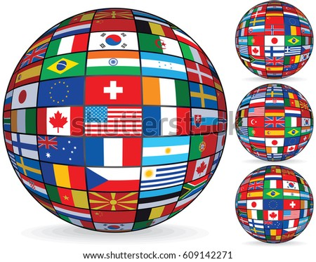 World flags on globe usa great stock illustration 609142271 world flags on globe usa great britain japan european union flag center freerunsca Image collections