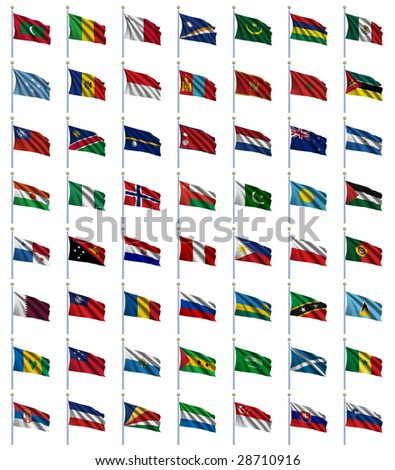 World Flags Set 3 of 4 - M to S - set of flags in alphabetical order from Maldives to Slovenia - stock photo
