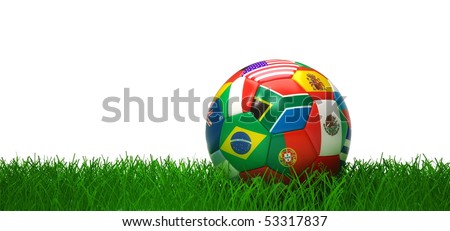 World flags soccer ball lying in grass - stock photo