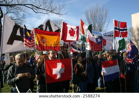World flags with Avaaz group at anti war rally on the National Mall, Washington, DC, Saturday, January 27, 2007. - stock photo
