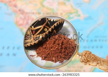 World foods, looking in on Mexico and it's hot chili pepper spices - stock photo