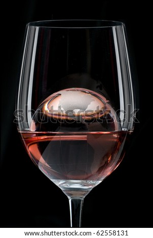 World Glass of Red Wine - stock photo