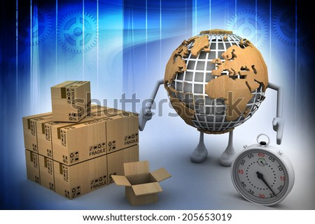World globe and cardboard texture - stock photo