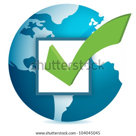 World globe and checkmark over a white background - stock photo