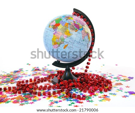 World globe and colorful confetti on white - stock photo