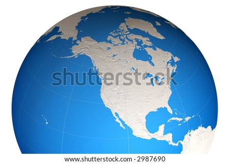 World globe close-up isolated over a white background. This is a 3D rendered picture.