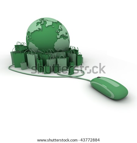 World globe connected to a computer mouse surrounded by shopping bags in green shades