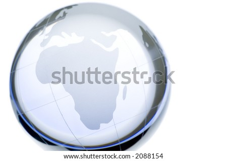 World globe: continents over transparent glass. Europe, Africa and Middle East. More in my portfolio - stock photo