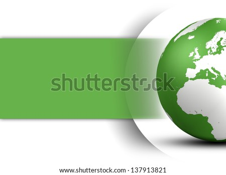 World Globe design concept in green and space for your text on white background