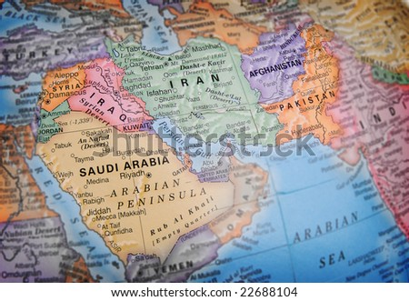 World globe focusing on Iraq, Saudi Arabia, Iran