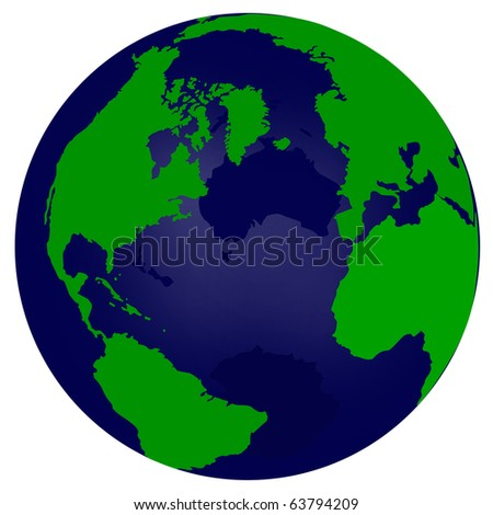 World Globe Illustration Isolated on White Background