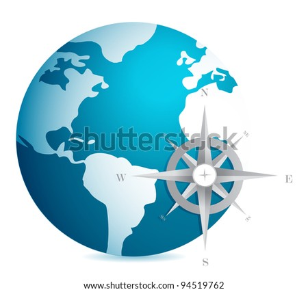 World globe illustration with compass over white background