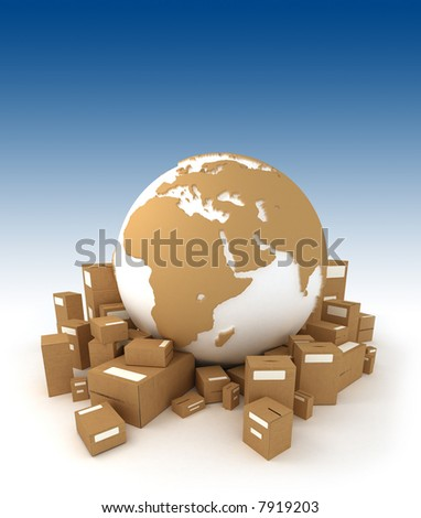 World globe in white and carboard texture, surrounded by packages and oriented to Africa - stock photo