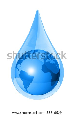 world globe map in a water drop isolated on white. 3D ecology symbol - stock photo