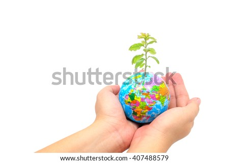 World globe on hand girl.Isolate or white background.Gift of Earth.Elements of this image furnished,Scene reconstructed from real NASA foto of earth. - stock photo