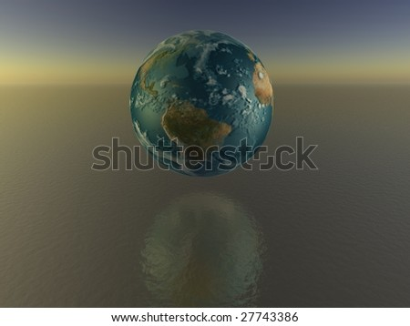 world globe on the water - stock photo