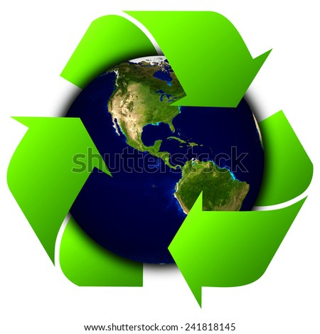 World globe or earth with recycle signs (Elements of this 3d rendered image furnished by NASA) - stock photo