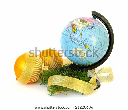 World globe (Russian) and christmas decoration on white - stock photo