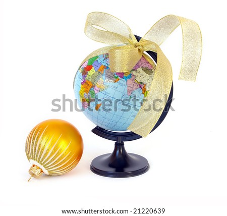 World globe (Russian) and christmas sphere on white - stock photo