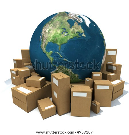 World Globe surrounded by big carboard boxes - stock photo