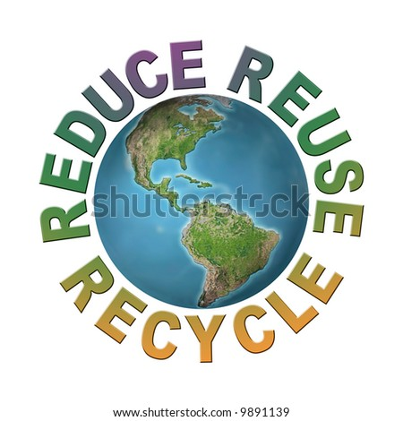 World globe surrounded by three ecological phrases - reduce-reuse-recycle - clean planet concept - stock photo