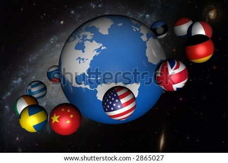 World globe with Country Planets on Space Background
