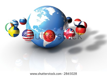 World globe with Country Planets on White Background - stock photo