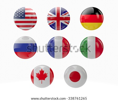 world globe with flags of G8 countries, sphere 3d rendering - stock photo