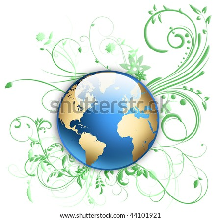 world globe with floral ornaments - stock photo