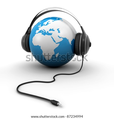 world globe with headphones