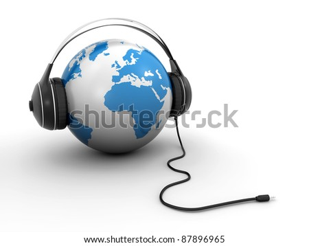 world globe with headphones - stock photo