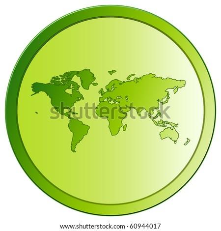 World - Green Eco Button - stock photo