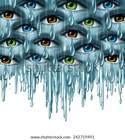 World grief and global tragedy concept as a group of human eyes crying with tears in solidarity coming together as a metaphor for community support and emotional healing. - stock photo