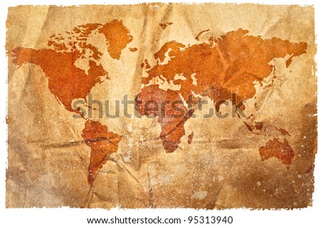 World grunge sepia map - stock photo