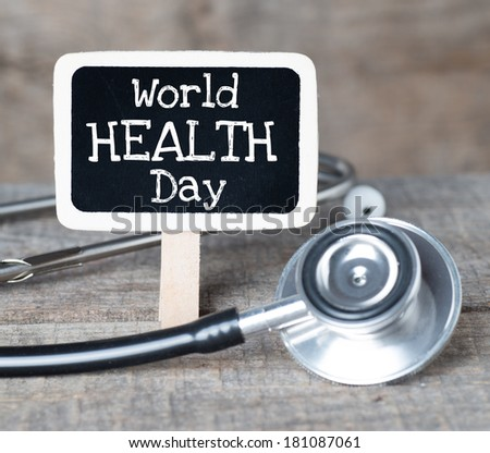 World health day concept handwriten on blackboard - stock photo